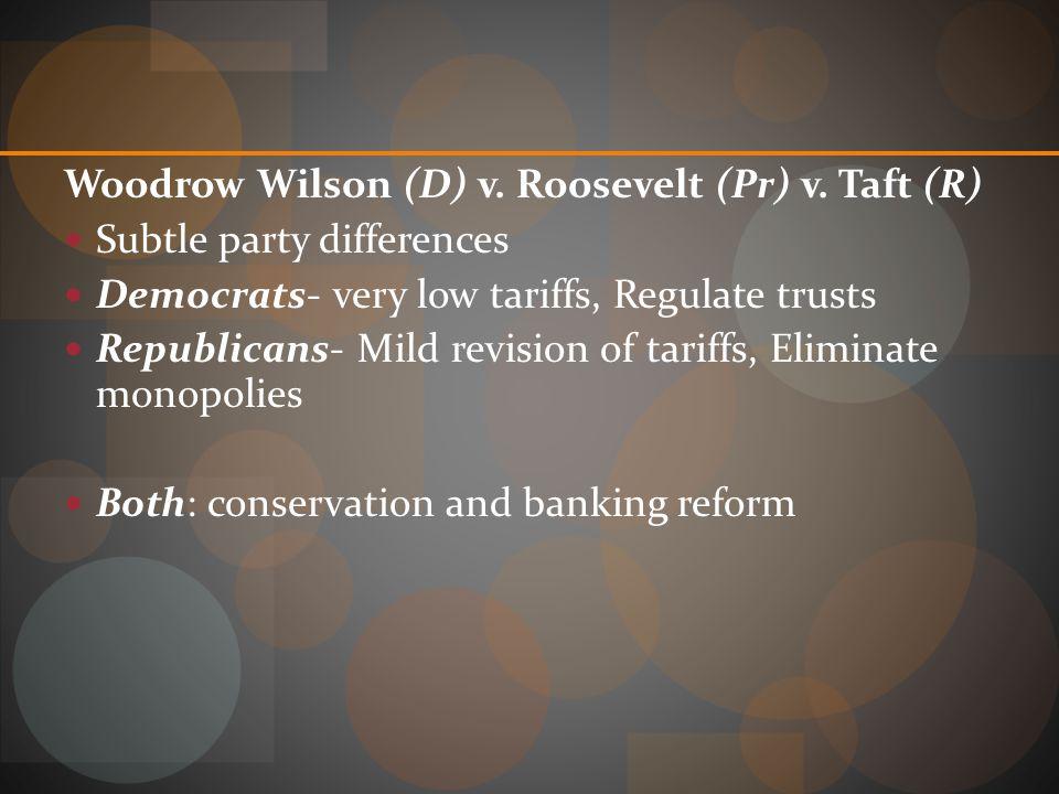 Woodrow Wilson (D) v. Roosevelt (Pr) v. Taft (R)