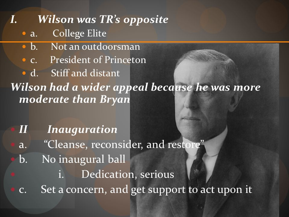 I. Wilson was TR's opposite