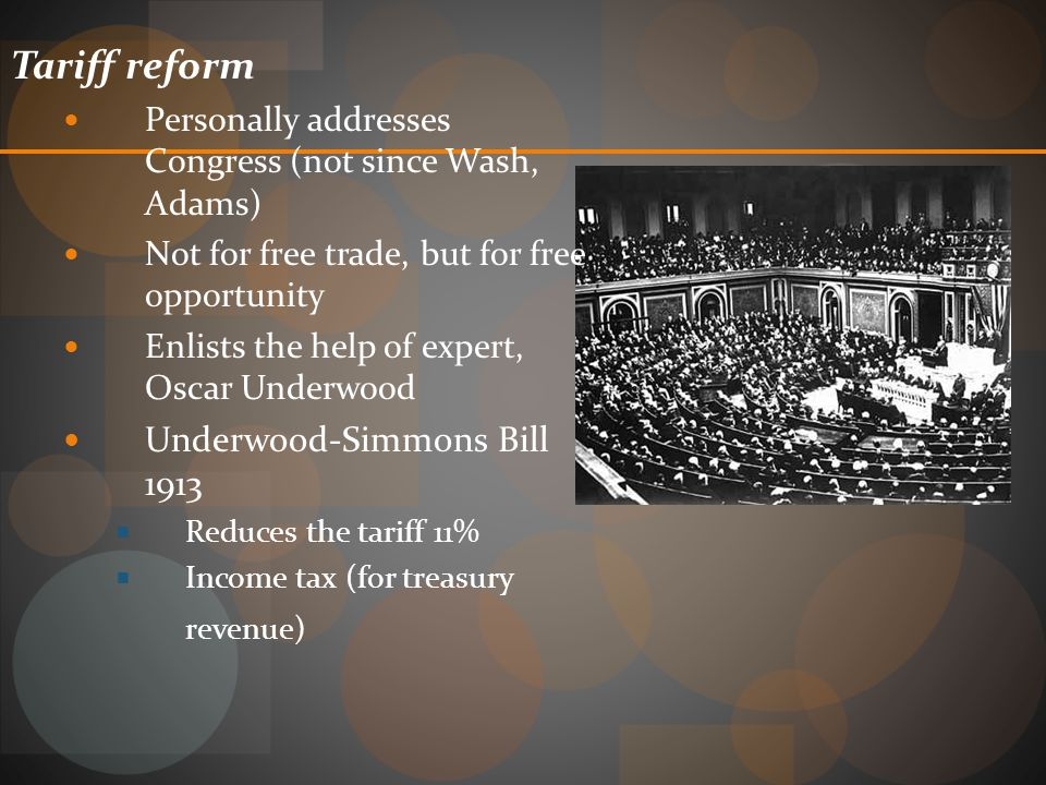 Tariff reform Underwood-Simmons Bill 1913