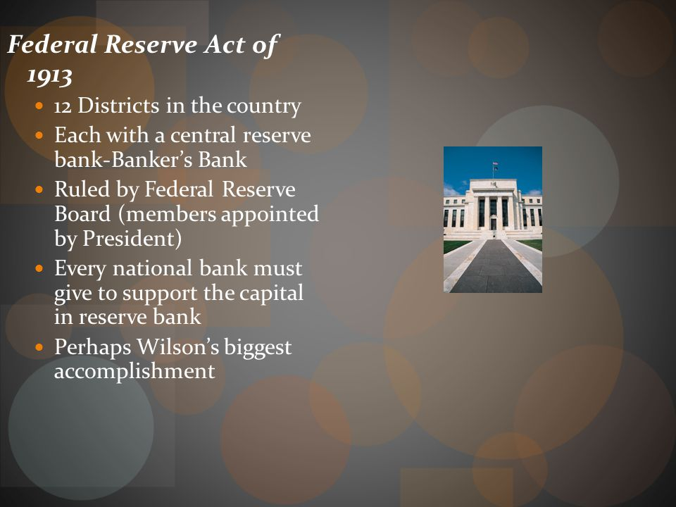 Federal Reserve Act of 1913 12 Districts in the country