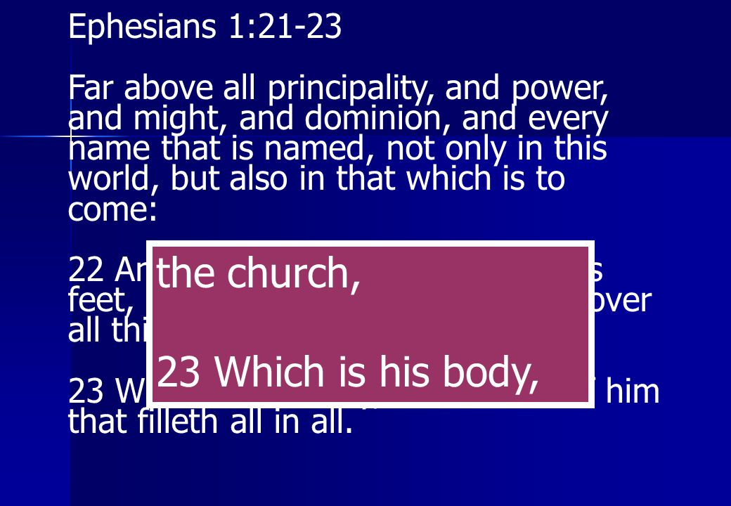 the church, 23 Which is his body, Ephesians 1:21-23