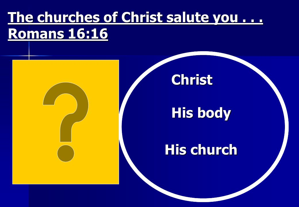 The churches of Christ salute you . . . Romans 16:16