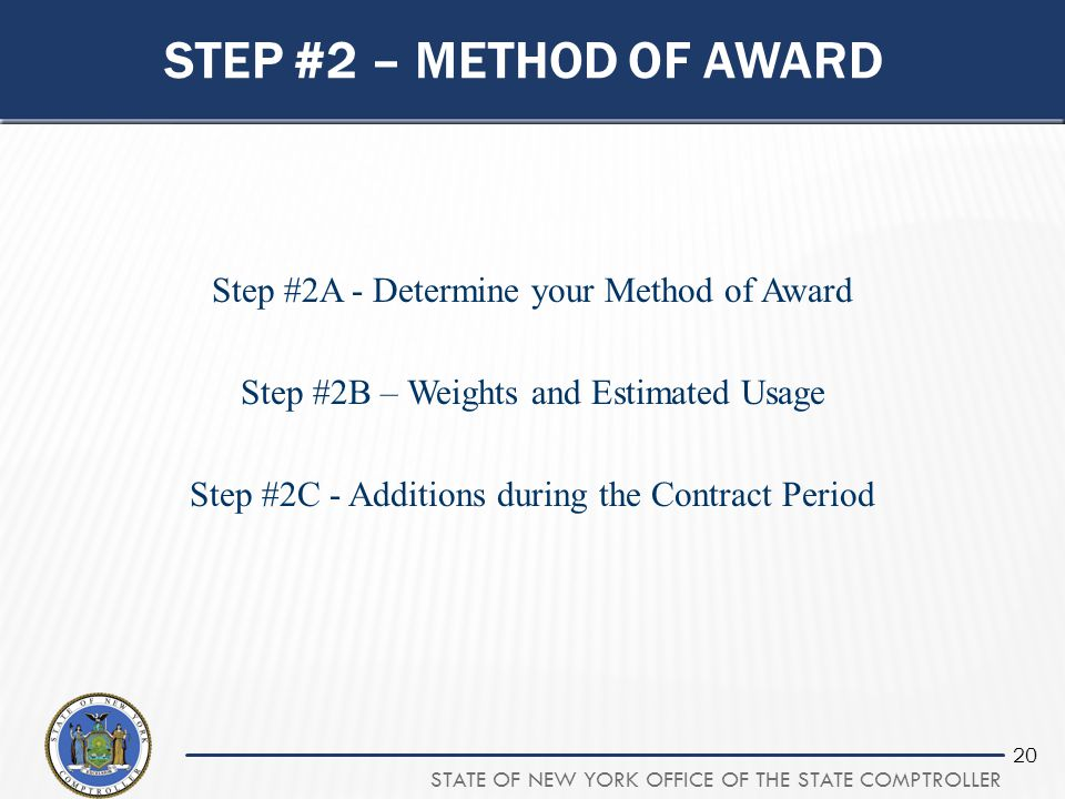 Step #2 – method of award