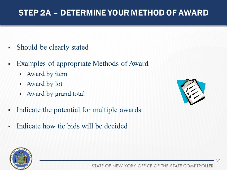 Step 2a – determine your method of award