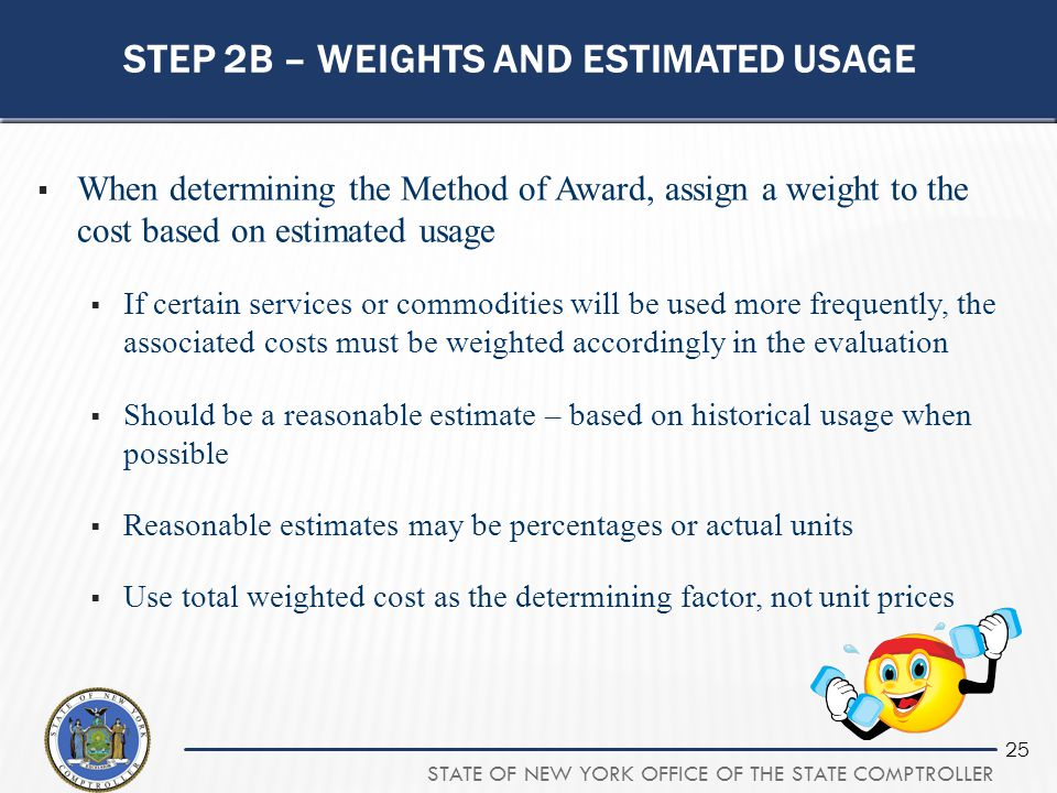 Step 2b – weights and estimated usage