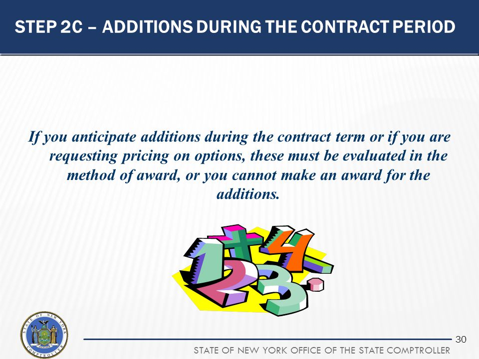 Step 2C – additions during the contract period