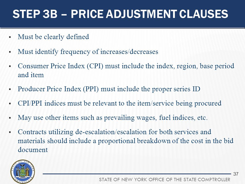 Step 3B – Price Adjustment Clauses