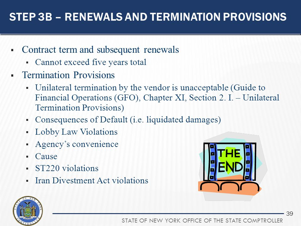 Step 3b – renewals and termination provisions