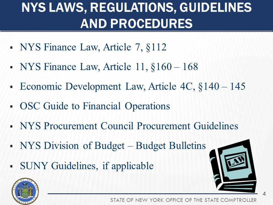 NYS Laws, Regulations, Guidelines and Procedures