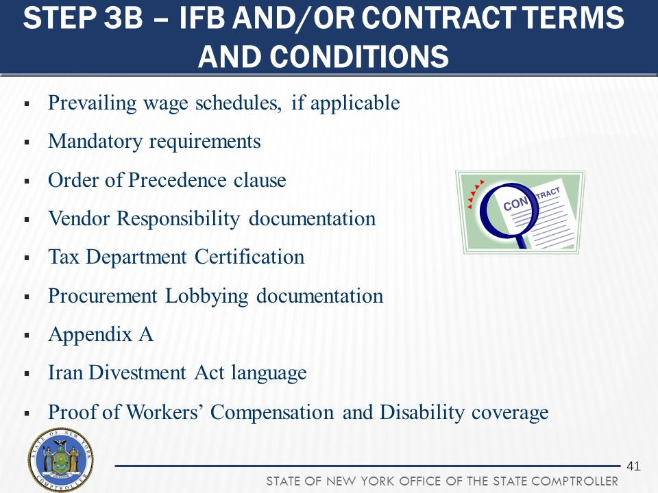 Step 3b – IFB and/or contract terms and conditions
