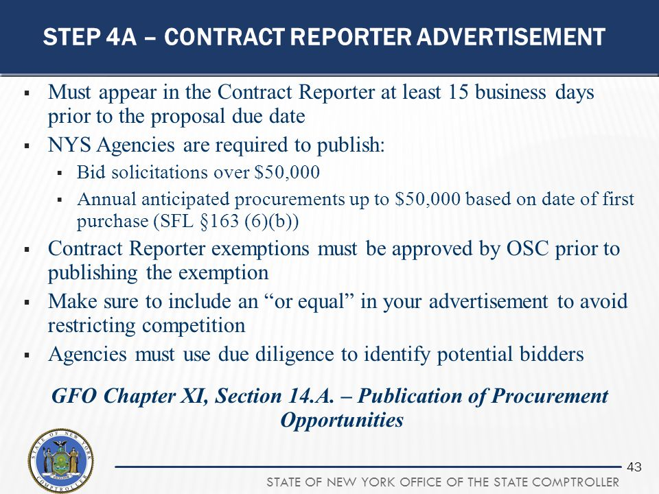 Step 4a – contract reporter advertisement