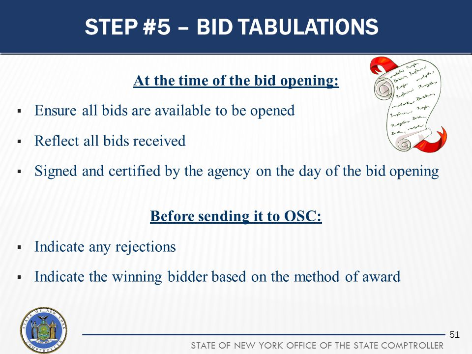 Step #5 – bid tabulations