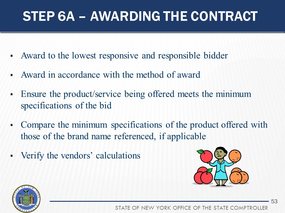 Step 6A – awarding the contract