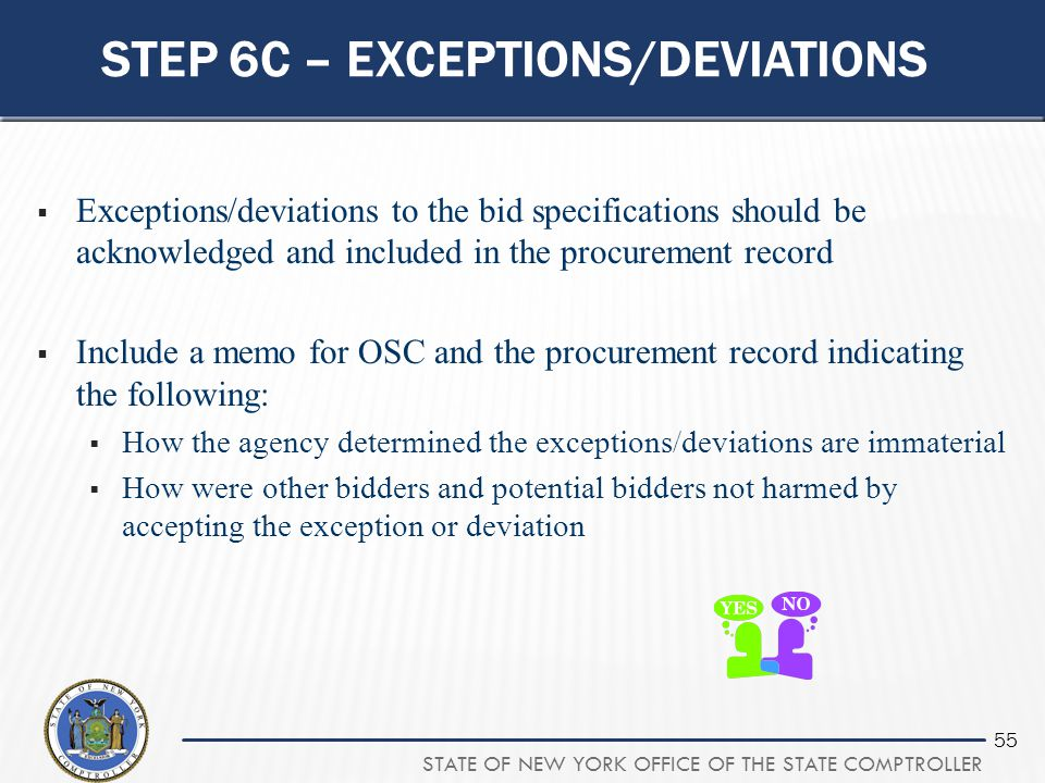 Step 6c – exceptions/deviations