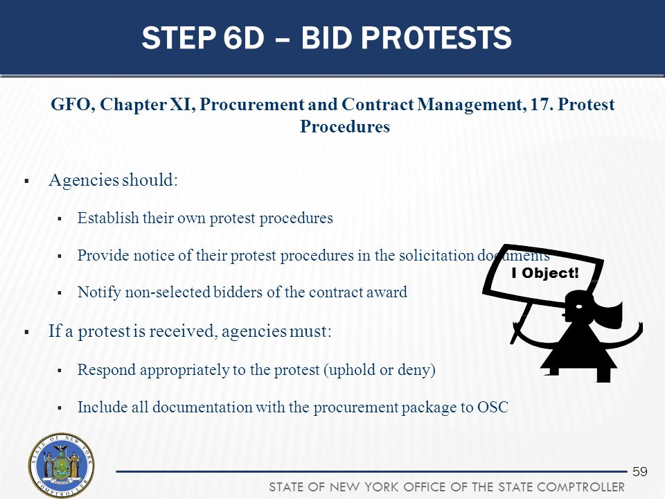 Step 6d – bid protests GFO, Chapter XI, Procurement and Contract Management, 17. Protest Procedures.