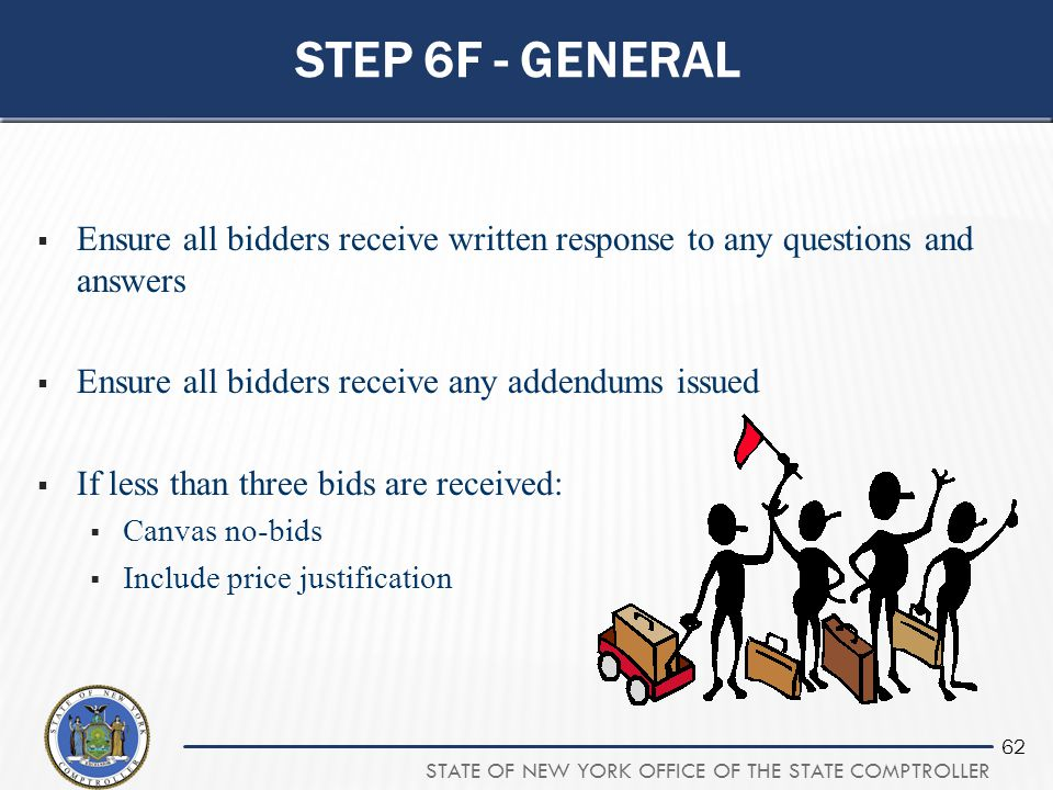 Step 6f - general Ensure all bidders receive written response to any questions and answers. Ensure all bidders receive any addendums issued.
