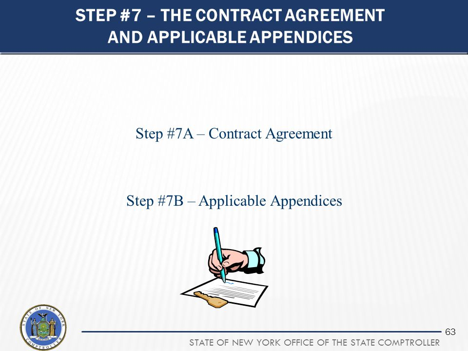 Step #7 – the contract agreement and applicable appendices