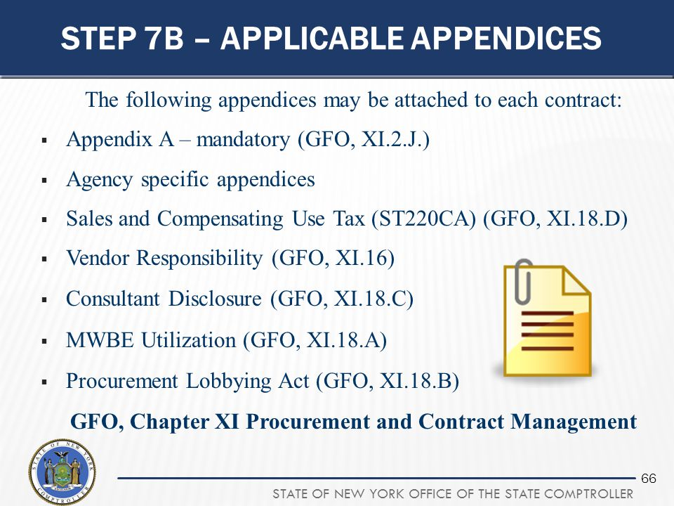 Step 7b – applicable appendices
