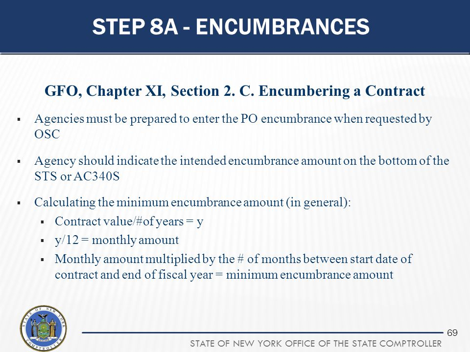 GFO, Chapter XI, Section 2. C. Encumbering a Contract