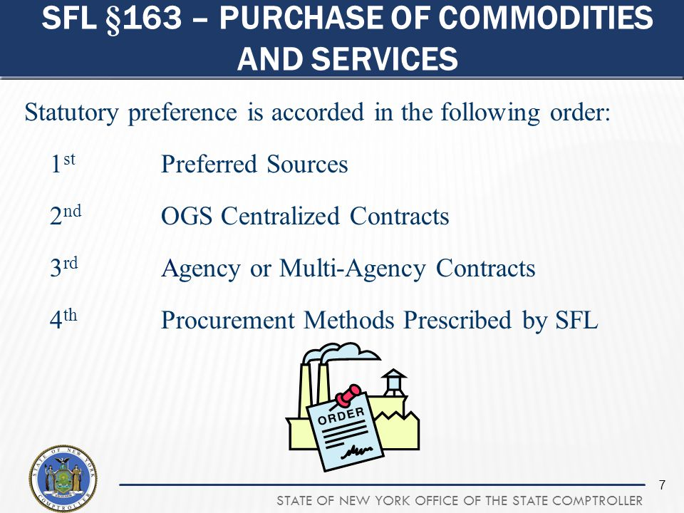 Sfl §163 – purchase of commodities and services