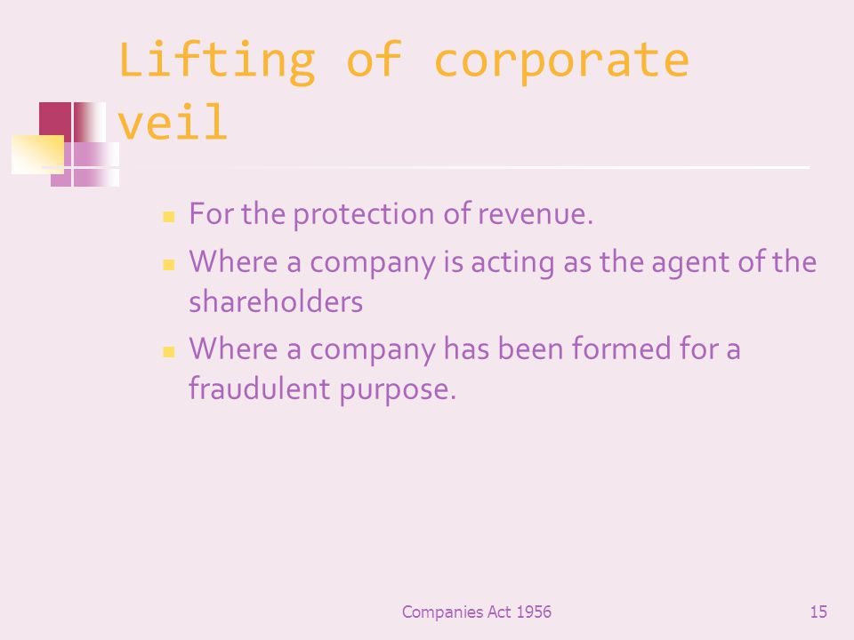 Lifting of corporate veil