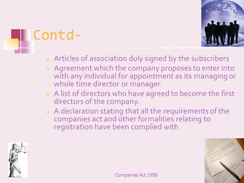Contd- Articles of association duly signed by the subscribers