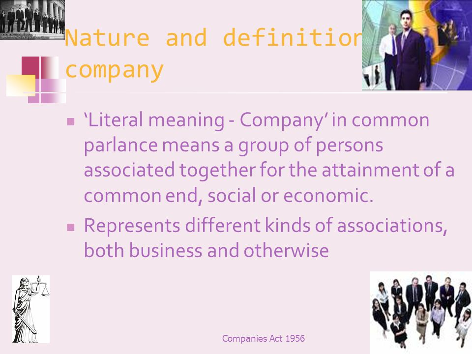 Nature and definition of a company