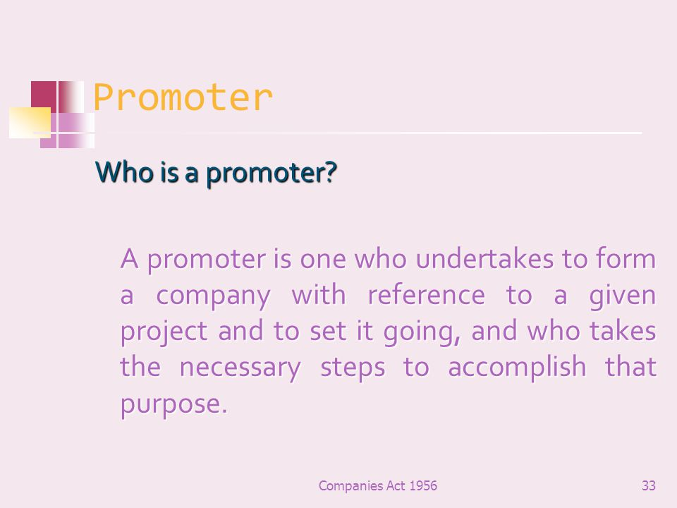 Promoter Who is a promoter