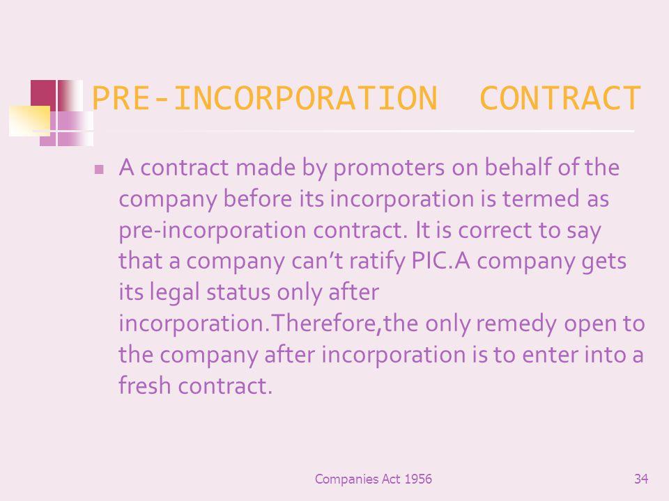 PRE-INCORPORATION CONTRACT