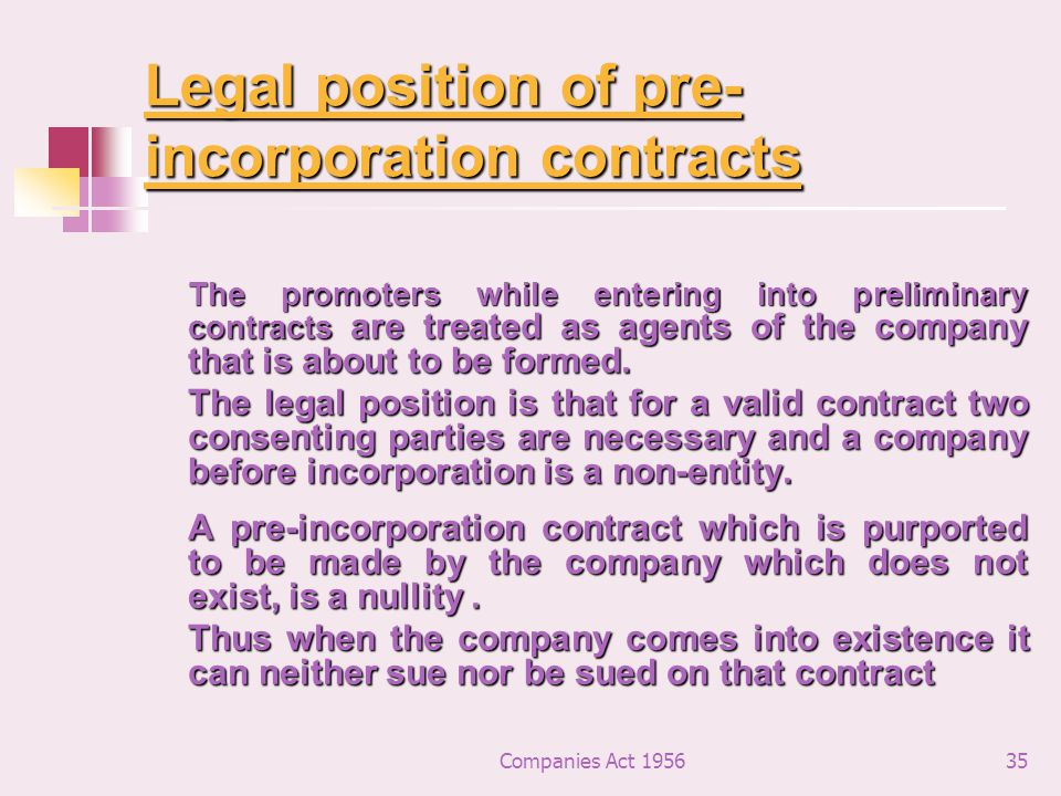Legal position of pre-incorporation contracts