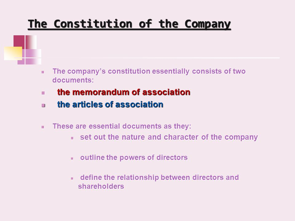 The Constitution of the Company