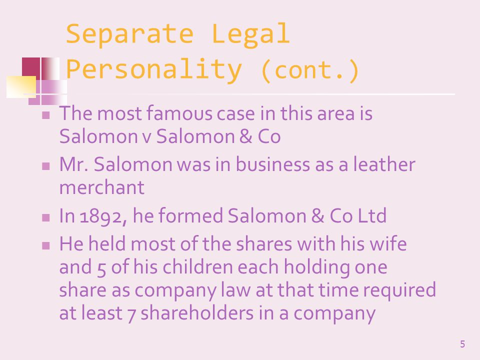 Separate Legal Personality (cont.)