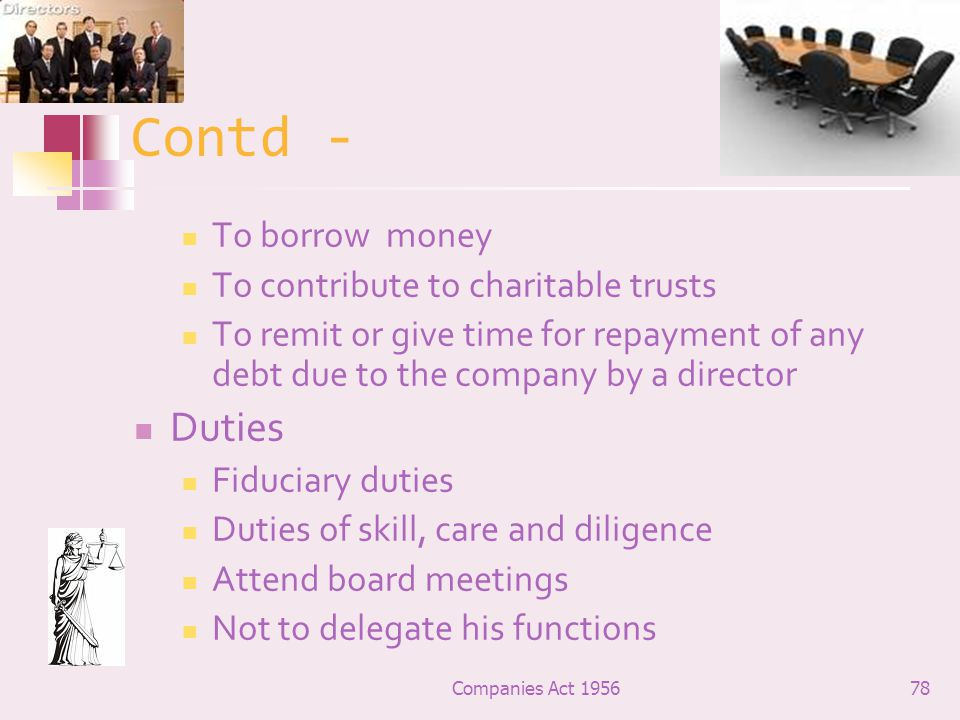 Contd - Duties To borrow money To contribute to charitable trusts