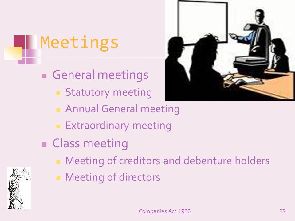 Meetings General meetings Class meeting Statutory meeting