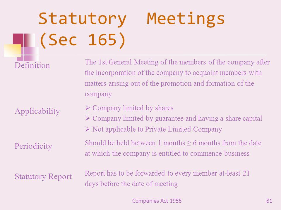 Statutory Meetings (Sec 165)