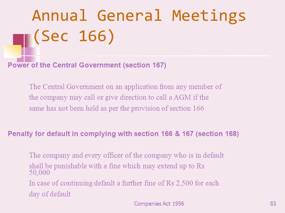 Annual General Meetings (Sec 166)