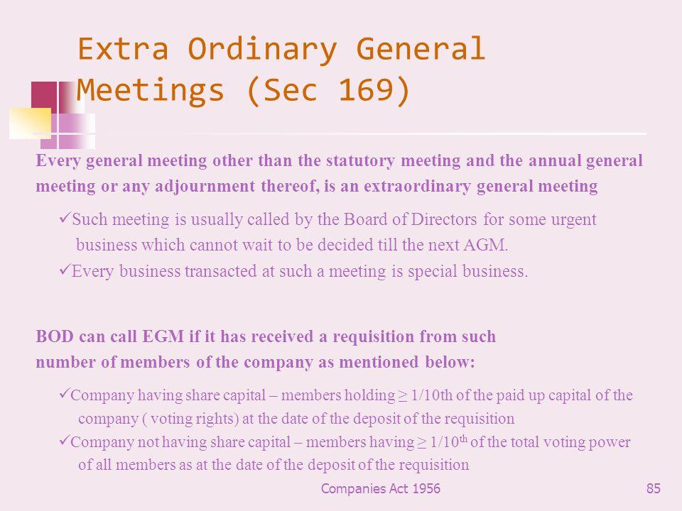 Extra Ordinary General Meetings (Sec 169)