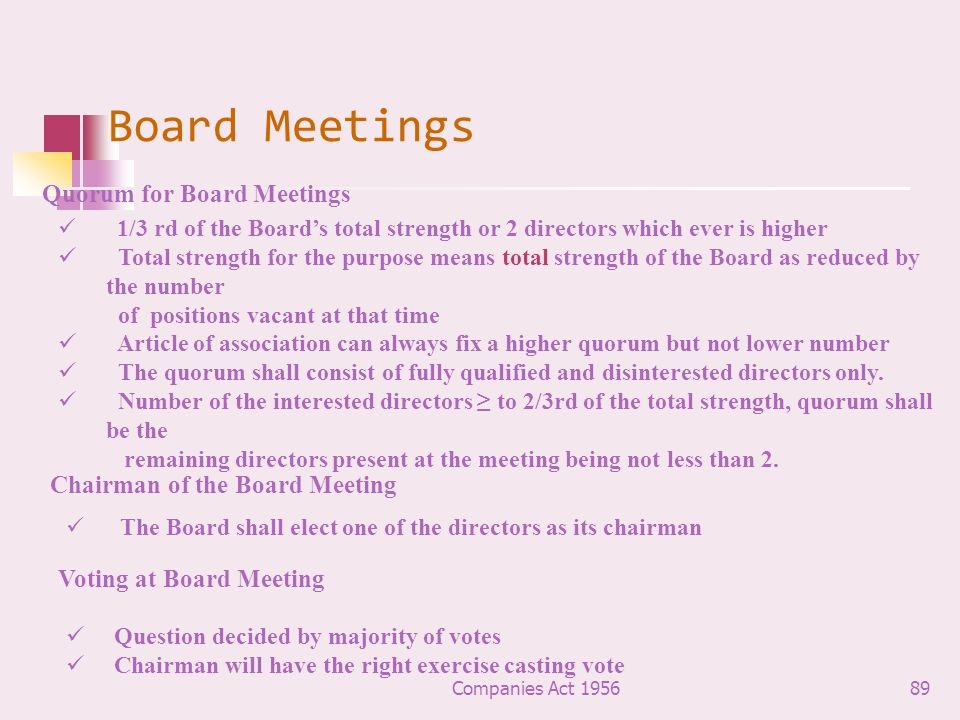 Board Meetings Quorum for Board Meetings Chairman of the Board Meeting