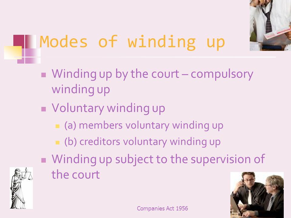 Modes of winding up Winding up by the court – compulsory winding up