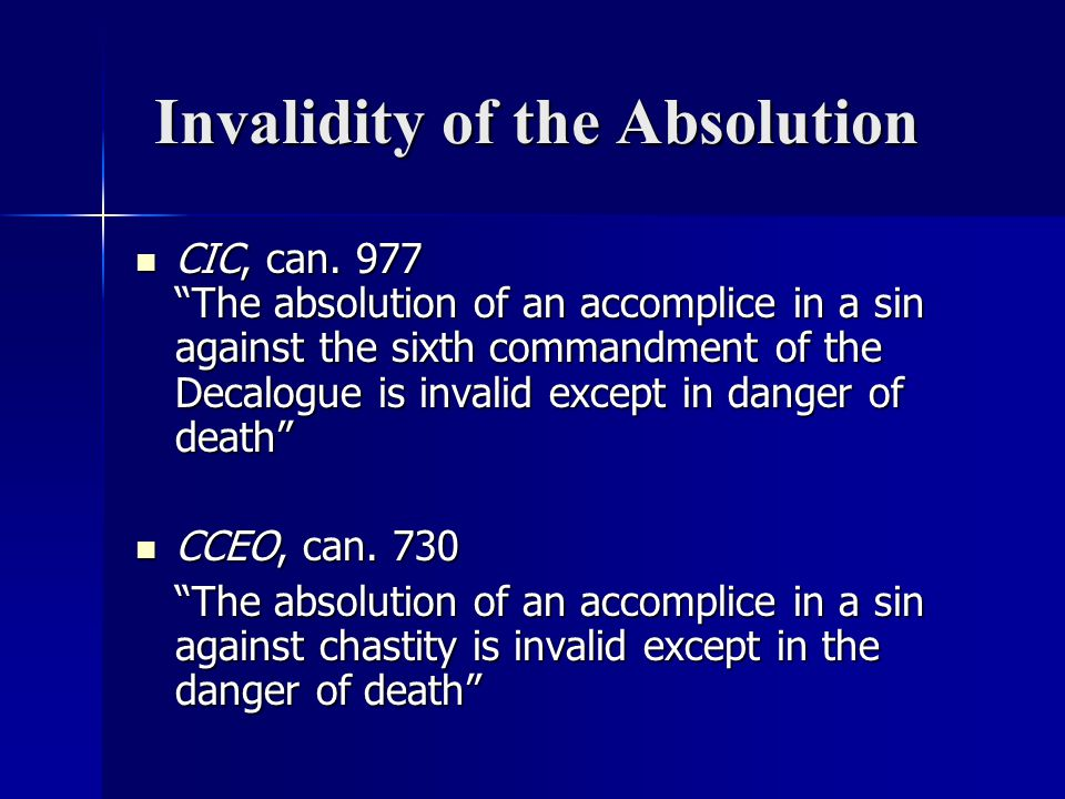 Invalidity of the Absolution