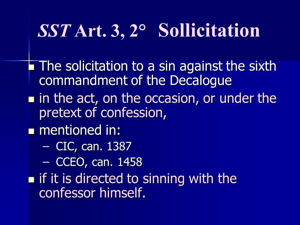 SST Art. 3, 2° Sollicitation