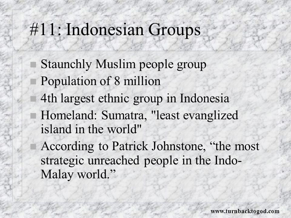 #11: Indonesian Groups Staunchly Muslim people group