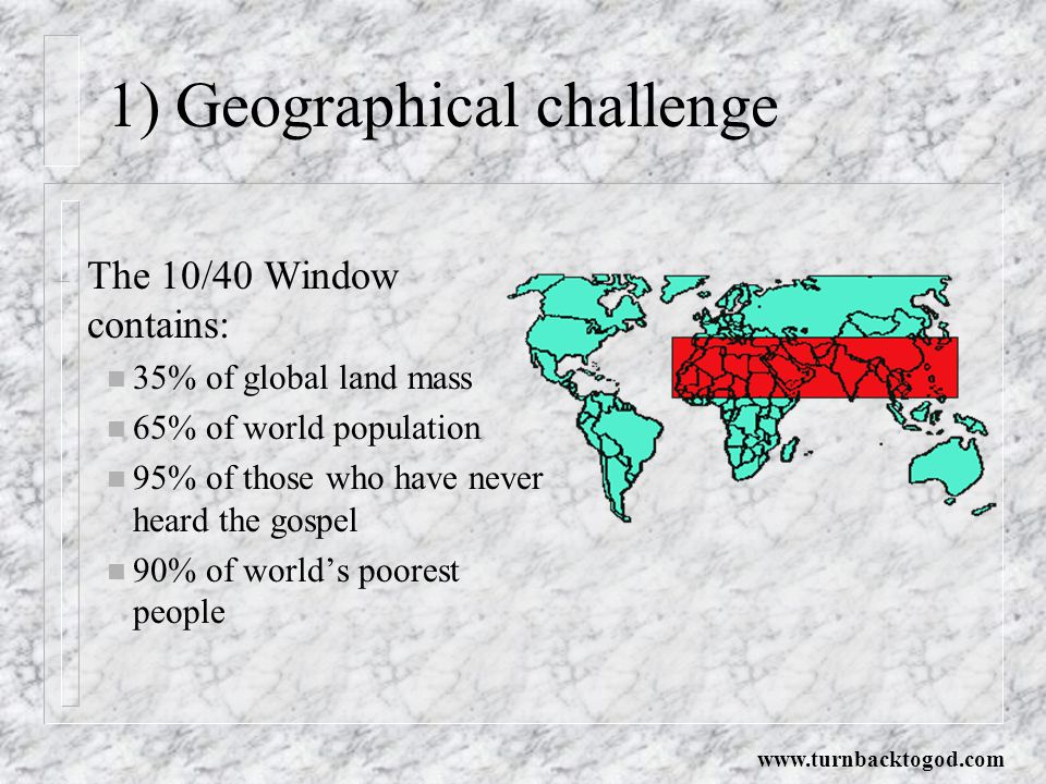 1) Geographical challenge