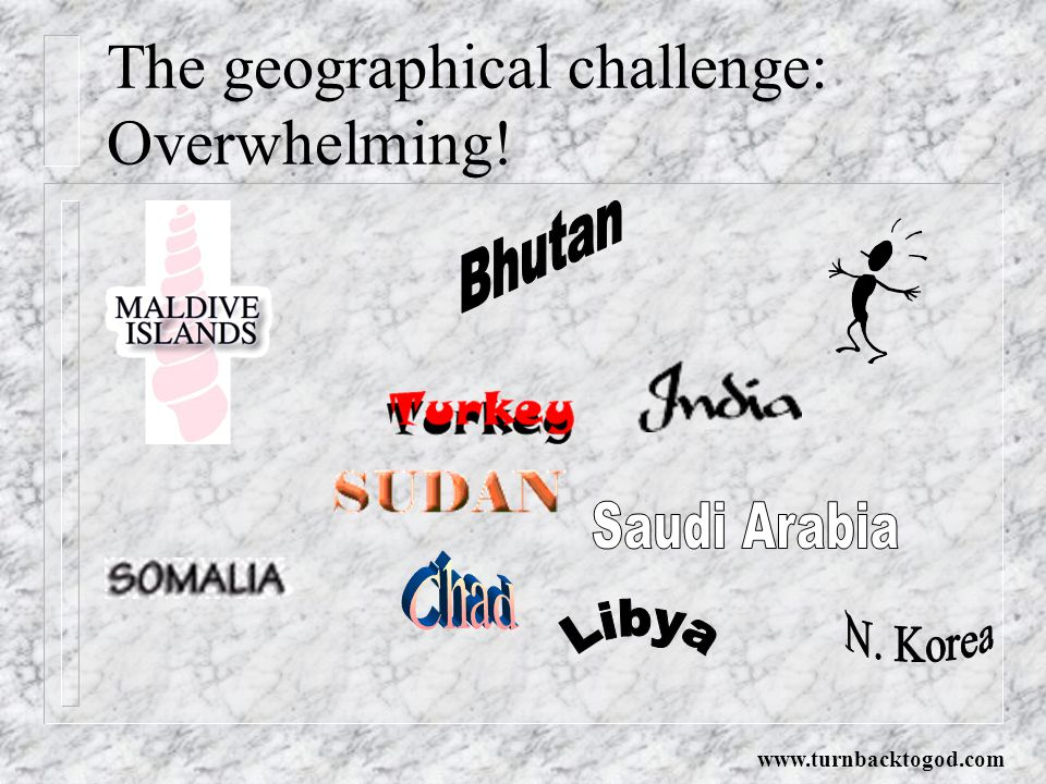 The geographical challenge: Overwhelming!