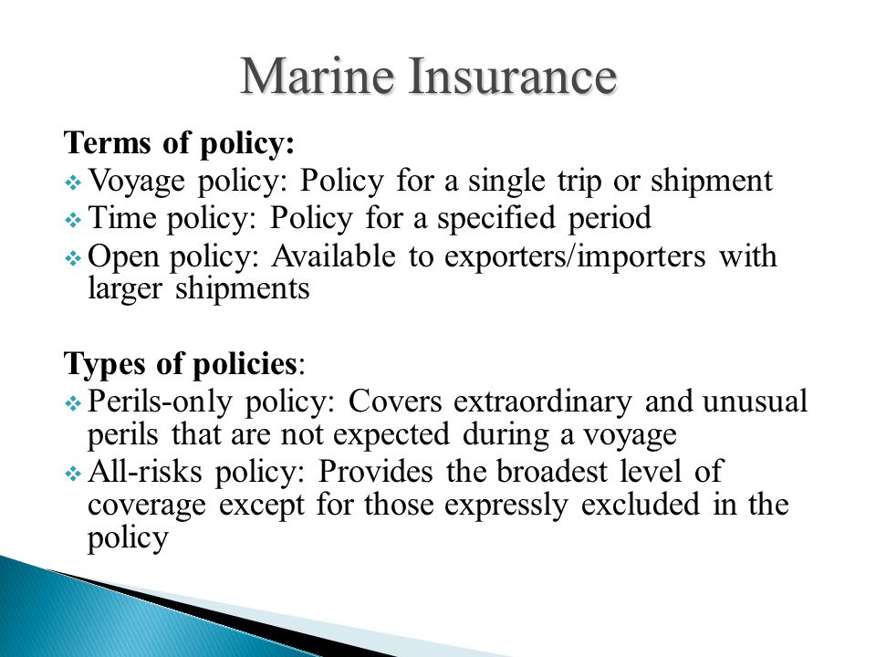 Marine Insurance Terms of policy: