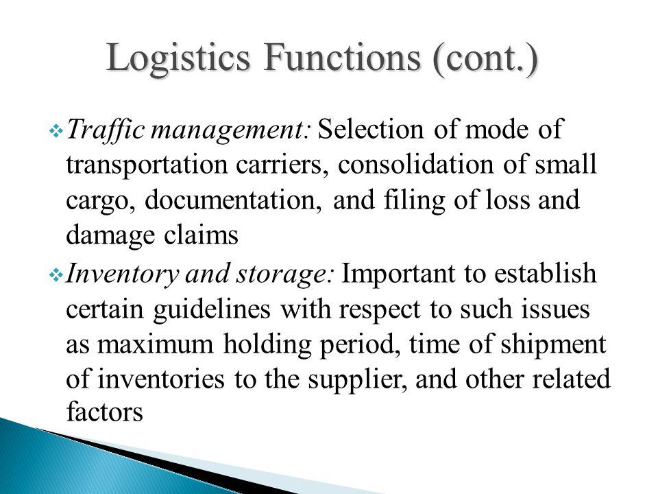 Logistics Functions (cont.)