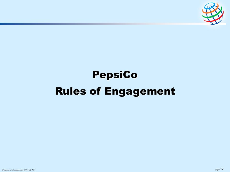 PepsiCo Rules of Engagement Global F&B 2007 Net revenue (US$)