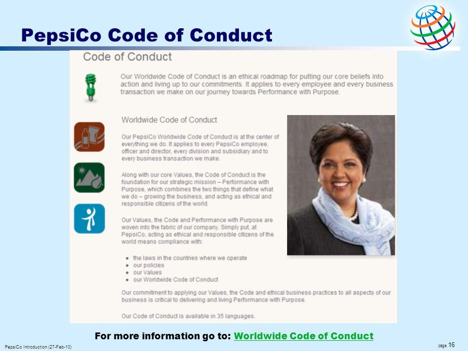PepsiCo Code of Conduct