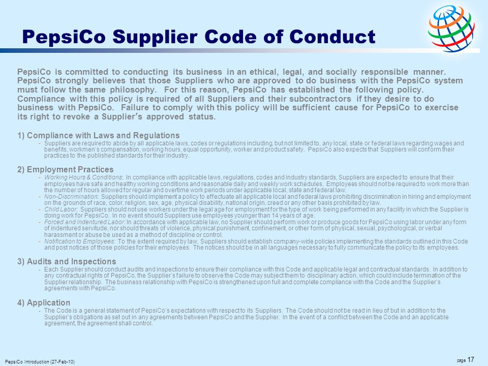 PepsiCo Supplier Code of Conduct