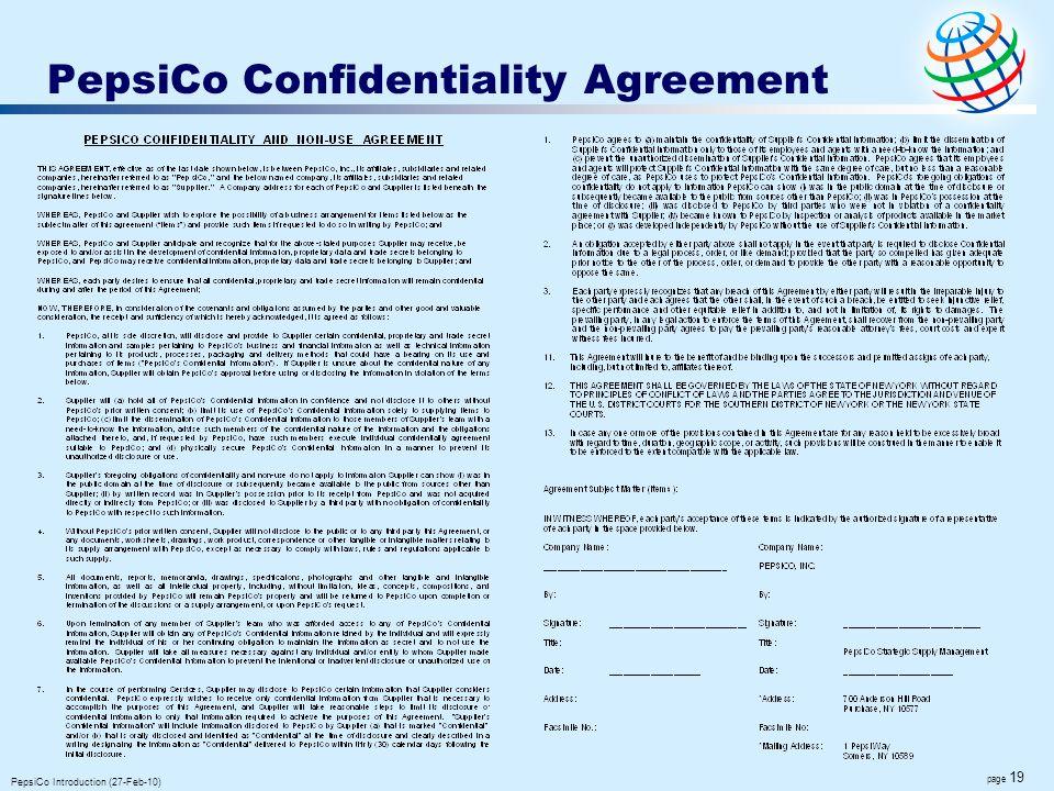 PepsiCo Confidentiality Agreement